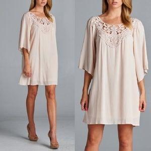 Gauze Crochet Detail 3/4 Sleeve Tunic Shift Dress